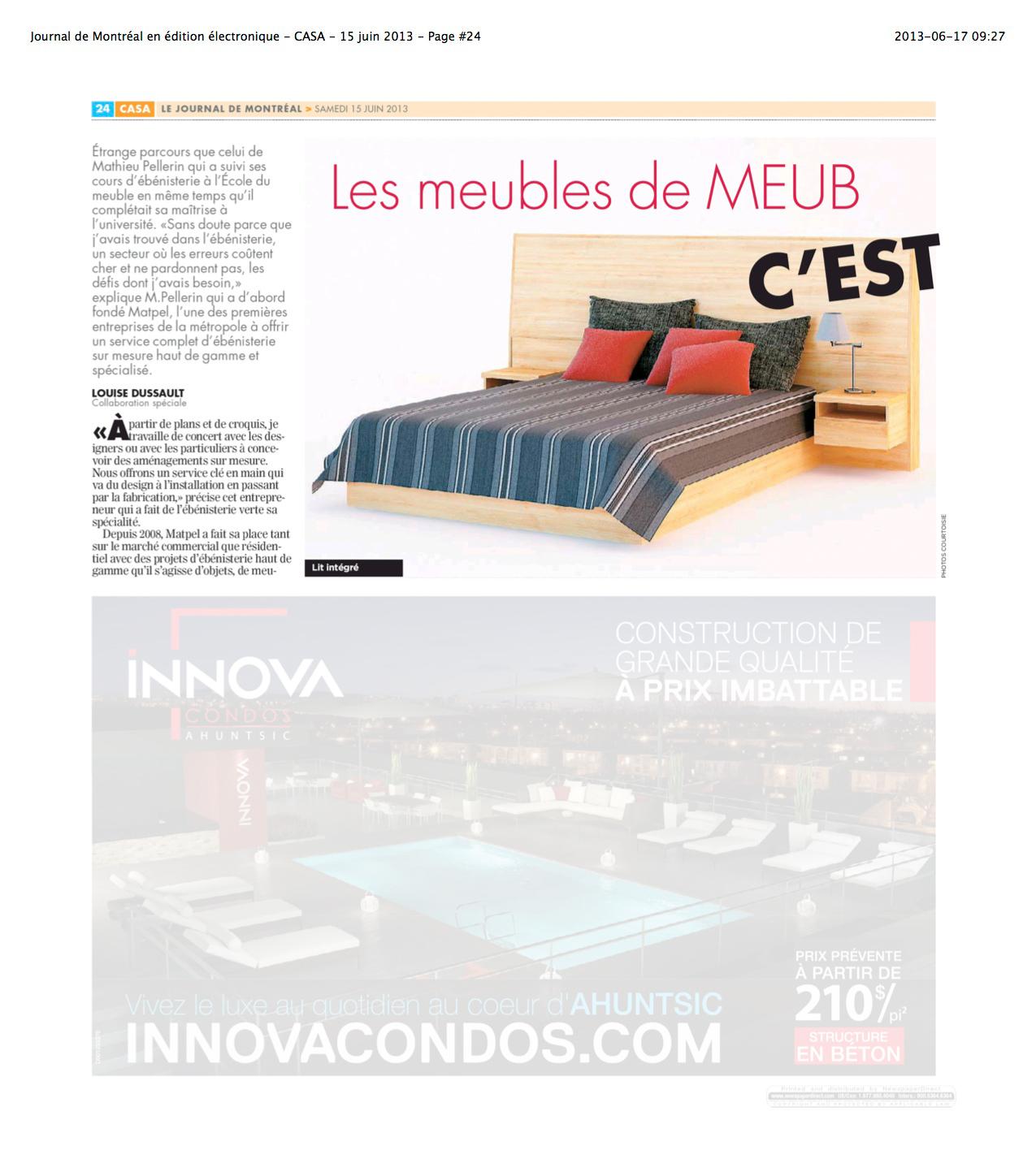 Nos meubles dans le cahier casa du journal de montr al for Meubles en ligne montreal